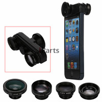 360 Rotating 4 in 1 Fish Eye + Wide Angle + Macro + Telephoto Lens Camera for iPhone 5S 5 Mobile Phone Lens