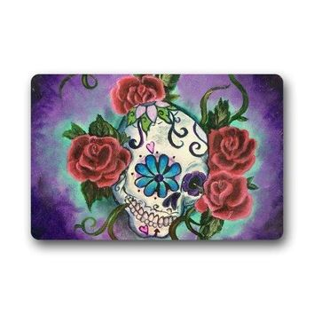 Door Mats Sugar Skull Tattoo Doormats er Indoor Outdoor Area Rugs Non-slip Entryway Mats
