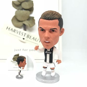 Soccerwe figurine football stars 2019 JUV Cristiano Ronaldo 7# Movable joints resin model toy collectible action figure dolls