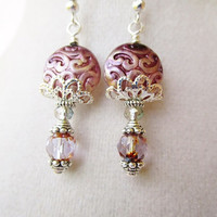 Embossed Round Purple Floral Coins & Cathedral Style Czech Glass Victorian Silver Filigree Earrings