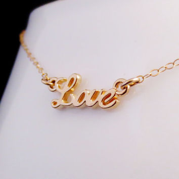 Gold Love Necklace, Gold Script Love, Love Word Jewelry, Celebrity Inspired Charm Necklace