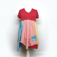 Long Patchwork Tunic, Boho Chic Clothing, Unique Clothing, Country Chic Tunic, Sustainable Clothing, Upcycled Clothing for Women