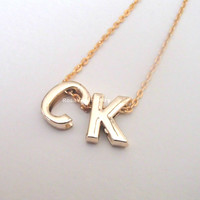Letter personalized initial necklace - dainty, simple, cute, personable, minimalist, chic, unique, monogram, letter initials, gold letter