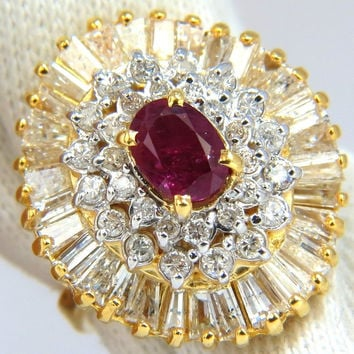 3.26CT NATURAL RUBY DIAMONDS BALLERINA COCKTAIL CLUSTER RING 14KT