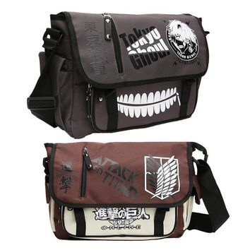 Cool Attack on Titan Tokyo Ghoul satchel canvas bag shoulder Anime Art Cartoon Fashion Crossbody Bag figure toys Messenger  AT_90_11