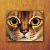 Cute Cat Painting Mouse Pad Beautiful yellow Big eyes Animal Wallpaper Mousepad Office Desk Decoration Gift Teacher Gift