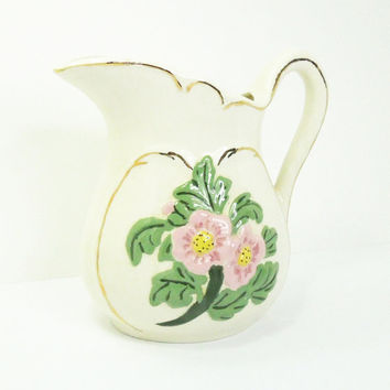 Ceramic pitcher with pink yellow flowers and gold trim - Floral ceramic water pitcher water jug - Cottage chic decor