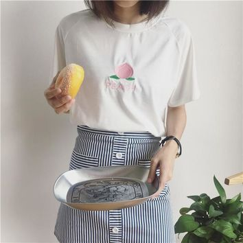 2018 korea Top Summer T-shirt women kawaii peach cherry pineapple watermelon embroidery Casual Tees Vadim Harajuku bts