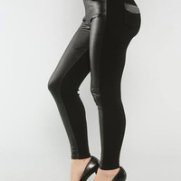 Skinny Faux-Leather Ponte-Knit