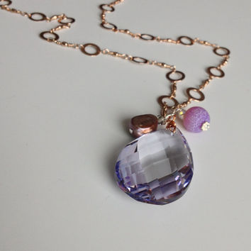 Bridal Rose Gold Necklace with Purple Crystal Pendant