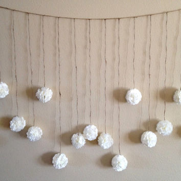 DIY Tissue Paper Flower Wedding Garland Kit, Photography Prop, Party Decoration, Pom Poms Garland