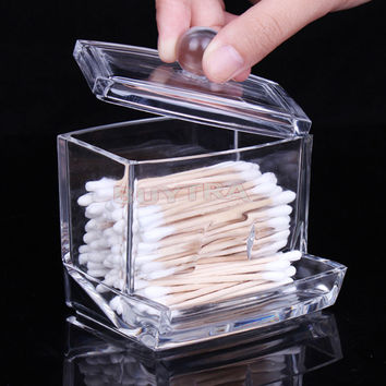 Clear Acrylic Q-tip Holder Box Empty Cotton Swabs Stick Storage Cosmetic Makeup Case