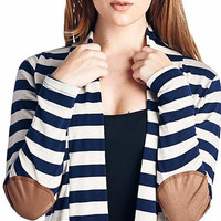 Navy Stripe Elbow-Patch Open Cardigan