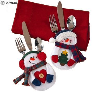 8Pcs Christmas Decorations snowman Silverware Holders   Christmas ornaments for tables new year Home Decor