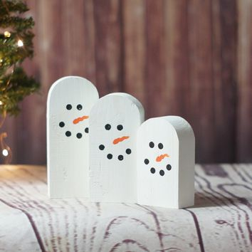 MINI Wooden Snowmen