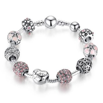 PANDORA Inspired Amor Love Charm Bracelet (4 Color Options)