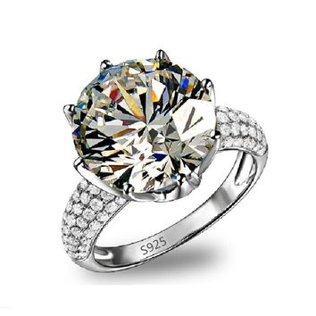 Crown CZ Crystal White Gold Plated Luxury Ring