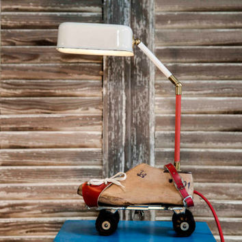 Table Lamp Upcycled Vintage Roller Skates Lamp