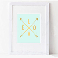 Mint and Gold Love Arrow Printable Digital Wall Art