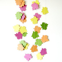 Colorful Maple Leaf Garland - Fall Autumn Decor - Thanksgiving decor - Thanksgiving Garland - Fall Leaf Garland