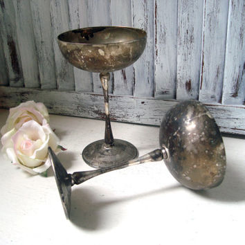 Shabby Chic Vintage Silver Plate Goblets, Pair of Decorative Goblets, French Farmhouse Decor, Tarnished Serving Ware