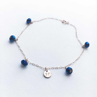 Blue Stone Anklet • Rose Gold Anklet • Initial Anklet • Blue Anklet • Something Blue • Blue Anklet for Bride • Bridal Jewelry • Beach Anklet