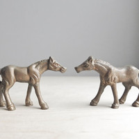 tiny brass horses / set of two