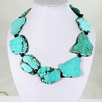 Turquoise Stone Necklace, Statement Necklace, Chunky Necklace