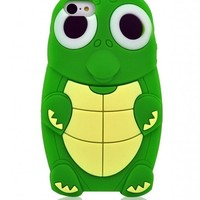 Green 3D Cartoon Lovely Turtle Pattern Soft Silicone Case Cover Skin for Apple iPhone 5C
