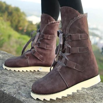 Brown Round Toe Flat Cross Strap Fashion Ankle Boots