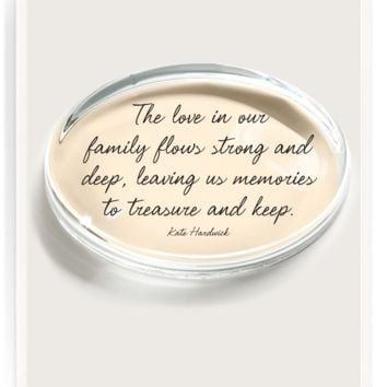 The Love In Our Family Crystal Oval Paperweight