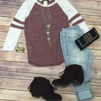 Baseball Tee: Burgandy