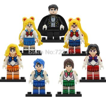 7pcs/lot Sailor Moon Figure Set Cartoon Chiba Mamoru Hino Rei Mizuno Ami Building Blocks Sets Models Bricks Toys for Children