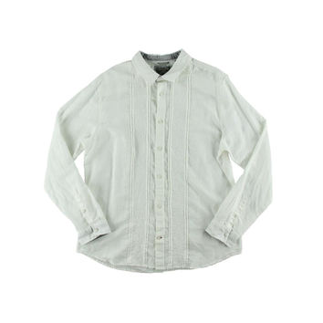 Guess Mens Linen Embroidered Button-Down Shirt