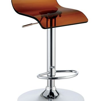CM-BR6161S-BR Set of 2 trixy collection contemporary style brown acrylic low back seat and chrome adjustable bar stool
