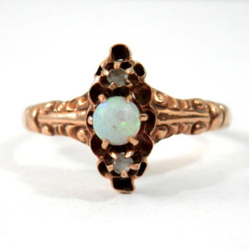 Antique Opal Ring 14K Gold and Diamonds Edwardian Era