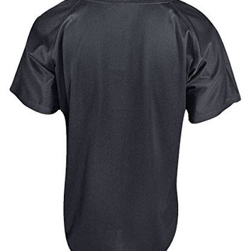 Mizuno Boy's Full Button Mesh Short Sleeve Baseball Jersey, Black, Medium