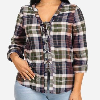 Casual Olive Plaid Print Top