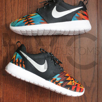 Nike Roshe Run Black Anthracite Aztec Tribal Print V5 Edition Custom Men & Women