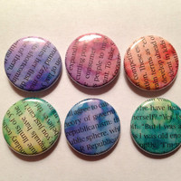 One Inch Watercolor Magazine Word Pinback Buttons