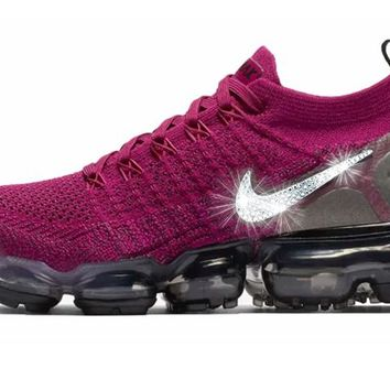 Nike Air VaporMax Flyknit 2 + Crystals - Raspberry Red Black d24007e49