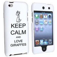 Apple iPod Touch 4th Generation White Rubber Hard Case Snap on 2 piece Black Keep Calm and Love Giraffes