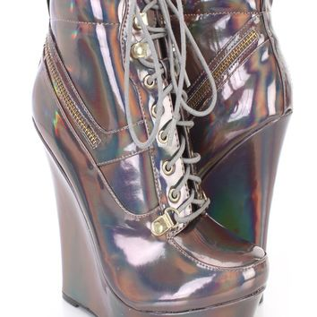 Pewter Iridescent Lace Up Sneaker Wedges Faux Leather