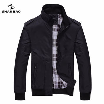 Men's casual black jacket simple British style plaid lining 3 colors black, green, khaki designer aviator jacket