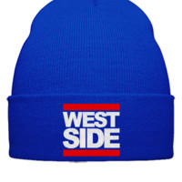 WEST SIDE embroidery hat - Beanie Cuffed Knit Cap