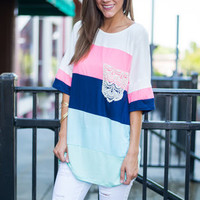 Watching The Colorblock Top, Pink