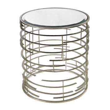 Ossett Contemporary Sculptural Metal Work Side Table With Clear Glass Top