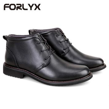 FORLYX Size 35-48 Men Snow Boots Genuine Leather Mens Winter Black Ankle Boots Army Work Safety Causal Waterproof Male Booties