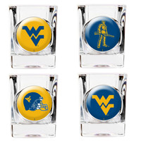 West Virginia Mountaineers 4-Piece 2oz. Square Shot Glass Set