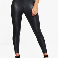 Bethan High Waist Wet Look Leggings | Boohoo